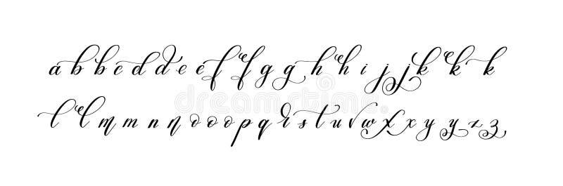 Skriftlig alfabetdesign för latinsk hand - små bokstäver stock illustrationer