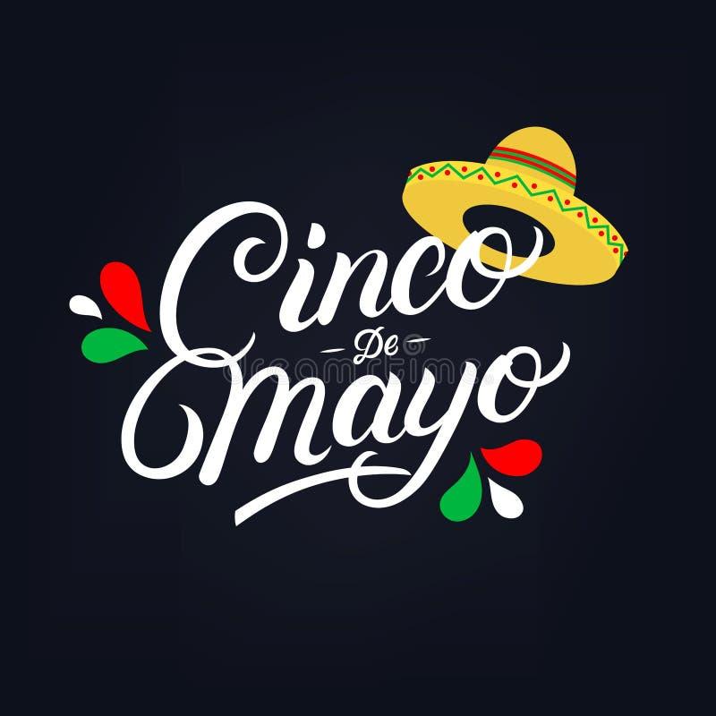 Skriftlig bokstäver för Cinco de Mayo hand stock illustrationer