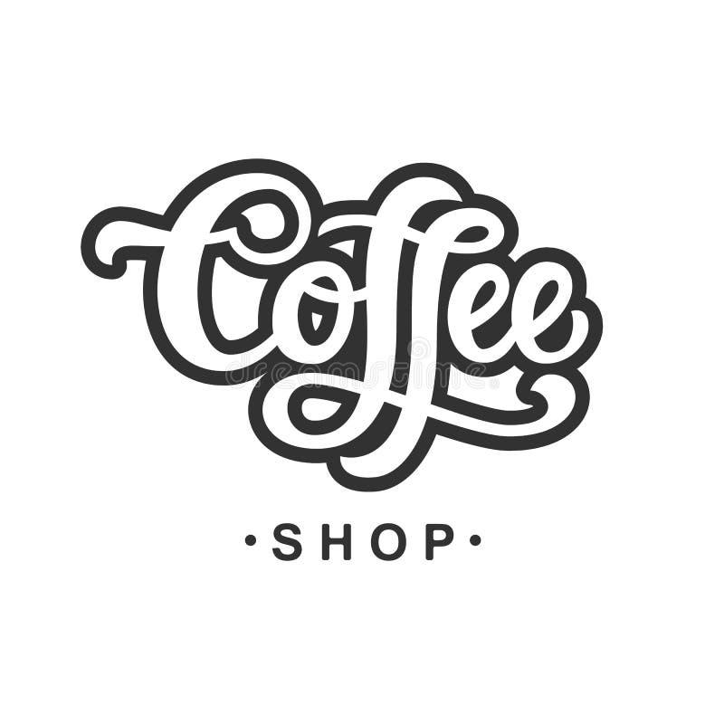 Skriftlig bokstäver för coffee shophand royaltyfri illustrationer