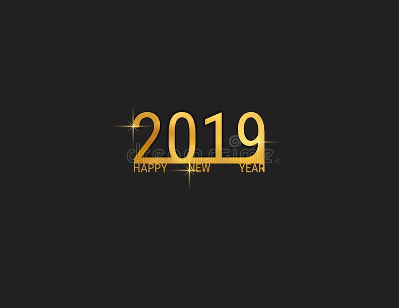 skriftlig bokstäver för 2019 hand med guld- julstjärnor på en svart bakgrund Kortdesign för lyckligt nytt år vektor illustrationer