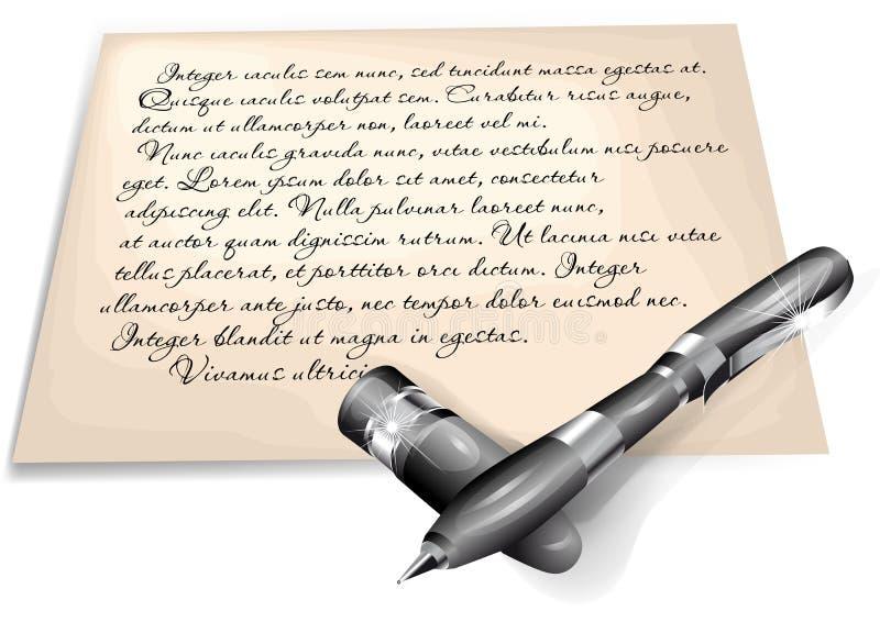 Skriftlig bokstav royaltyfri illustrationer