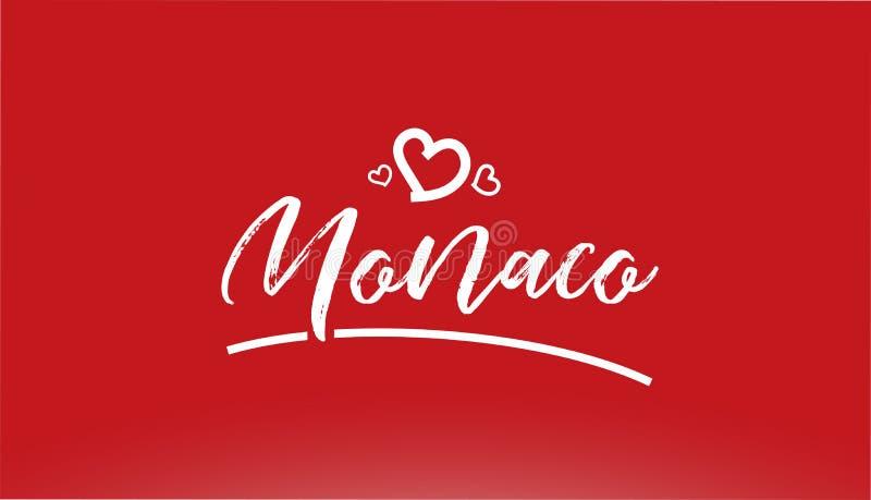 skriftlig text Monaco för vit stadshand med hjärtalogo på röd bakgrund vektor illustrationer