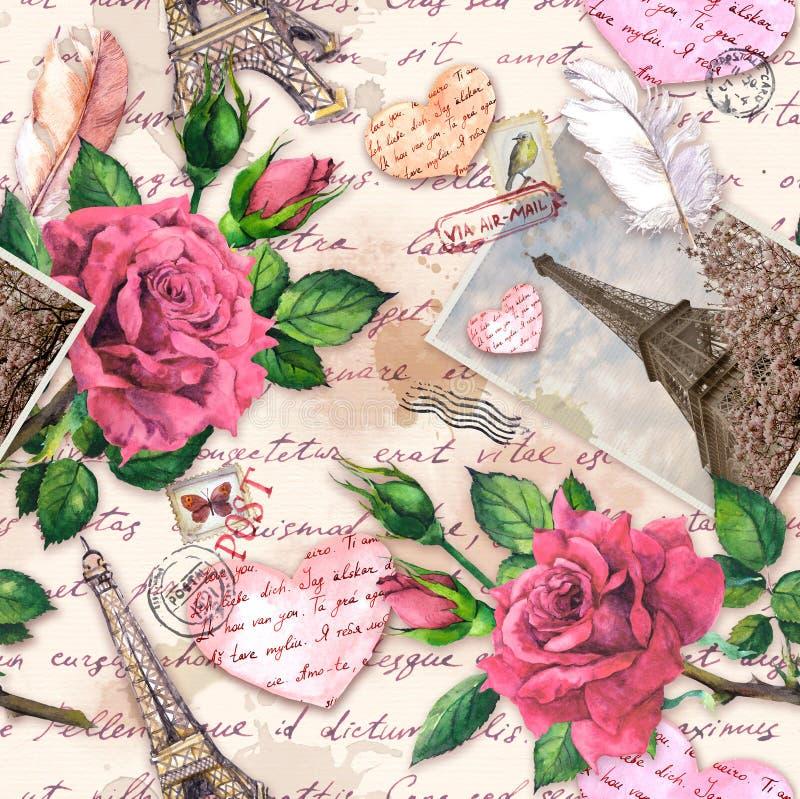 Skriftliga anmärkningar för hand, pappers- hjärtor, tappningfoto av Eiffeltorn, röda rosa blommor, post- stämplar, fjädrar seamle royaltyfria bilder
