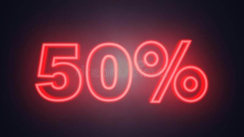 Skriftliga femtio procent neonideal för försäljningsperioden, ideal för e-kommers vektor illustrationer