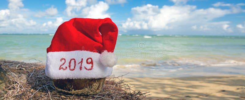 Skriftligt år 2019 på den Santa Claus hatten på den karibiska stranden nytt år för bakgrund arkivfoton