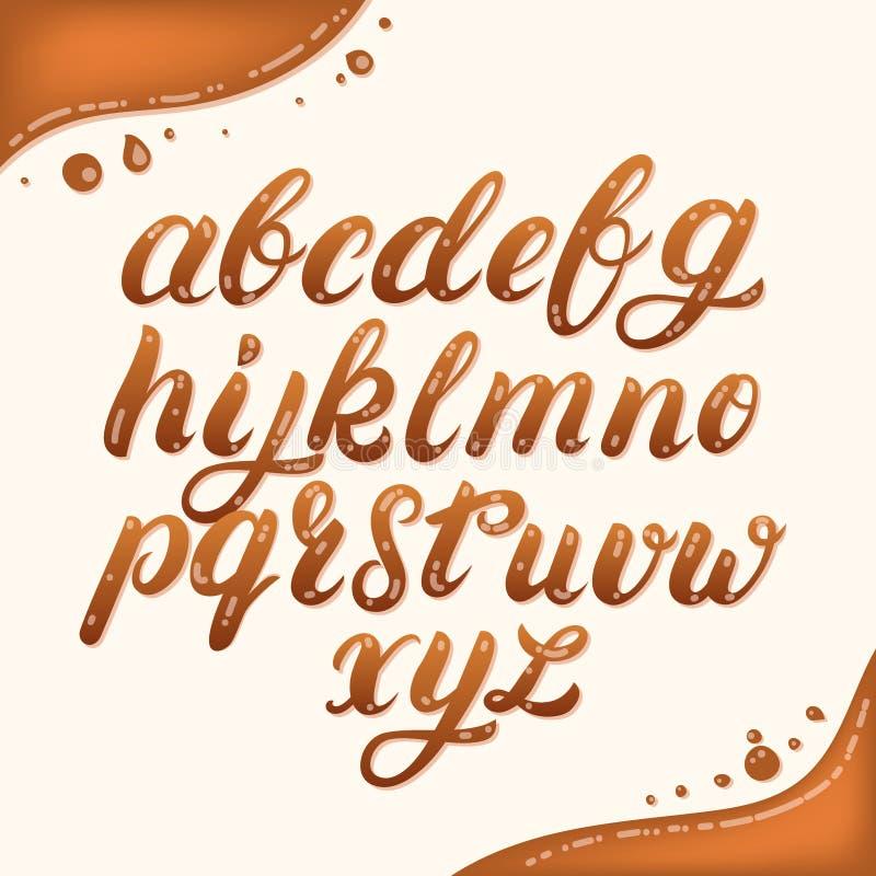 Skriftligt litet alfabet för hand som göras av karamell royaltyfri illustrationer