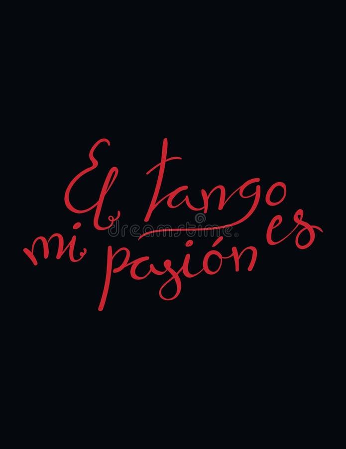 Skriftligt tangocitationstecken för hand stock illustrationer