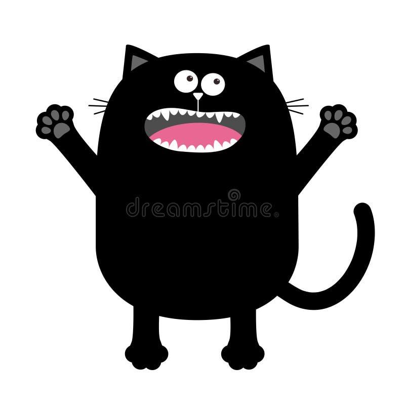 Skrika det jama konturinnehavet för den svarta katten räcker upp Ögon tänder, tunga, tafsar trycket Spöklik röding för gullig bu  royaltyfri illustrationer