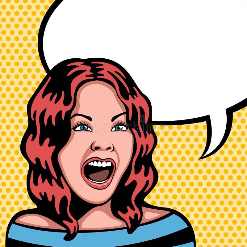 Skrika för kvinna royaltyfri illustrationer