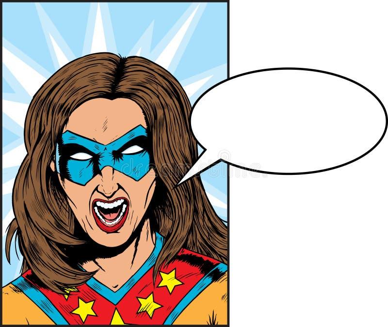 Skrika Superhero stock illustrationer