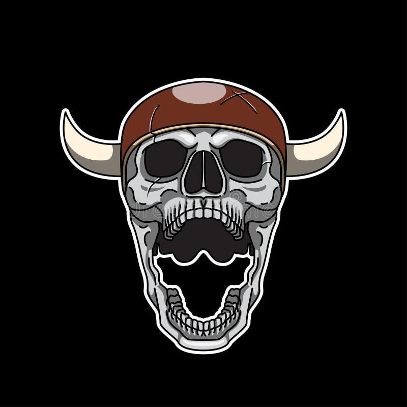 Skrika Viking Skull royaltyfri illustrationer