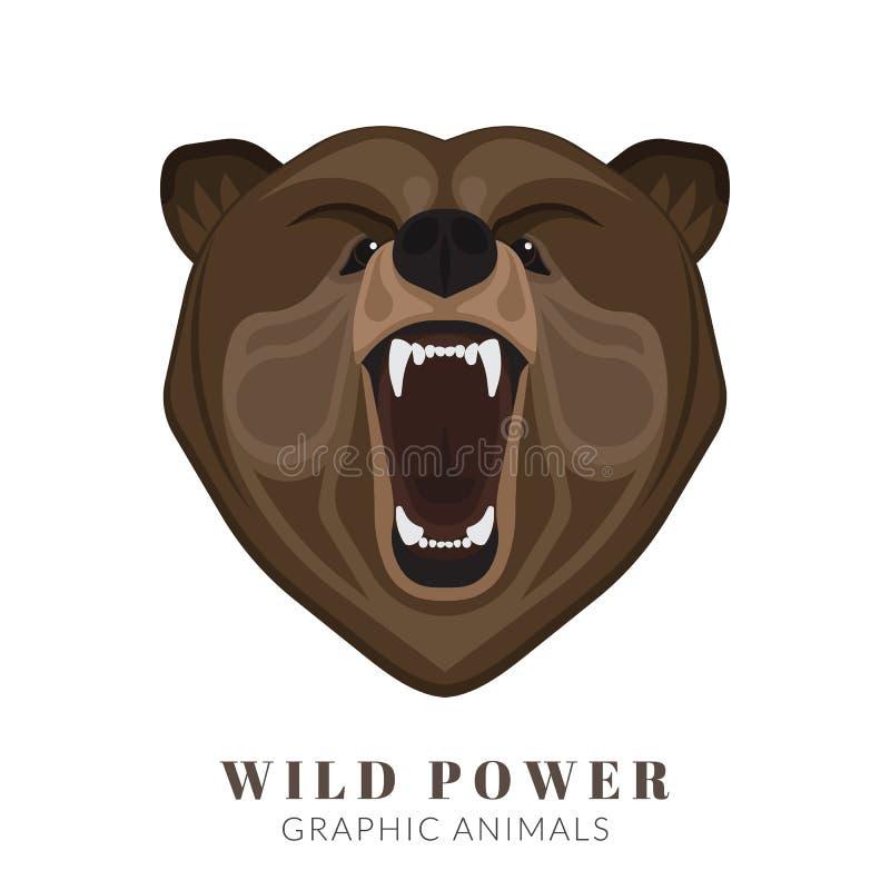 Skrikig björn royaltyfri illustrationer