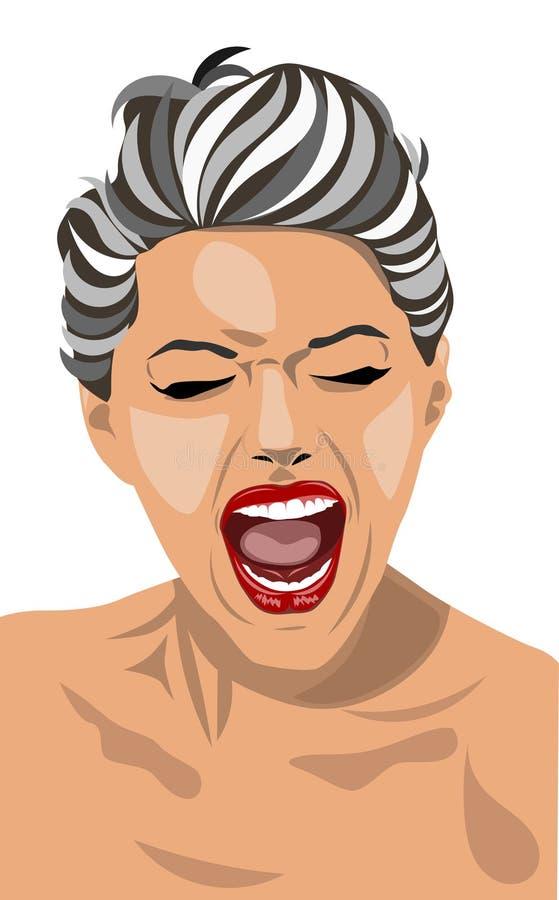 skrikig kvinna royaltyfri illustrationer