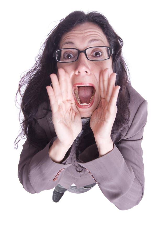 skrikig kvinna för affärsstående royaltyfri foto