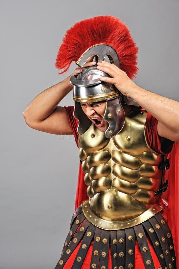 skrikig soldat för legionary royaltyfri fotografi