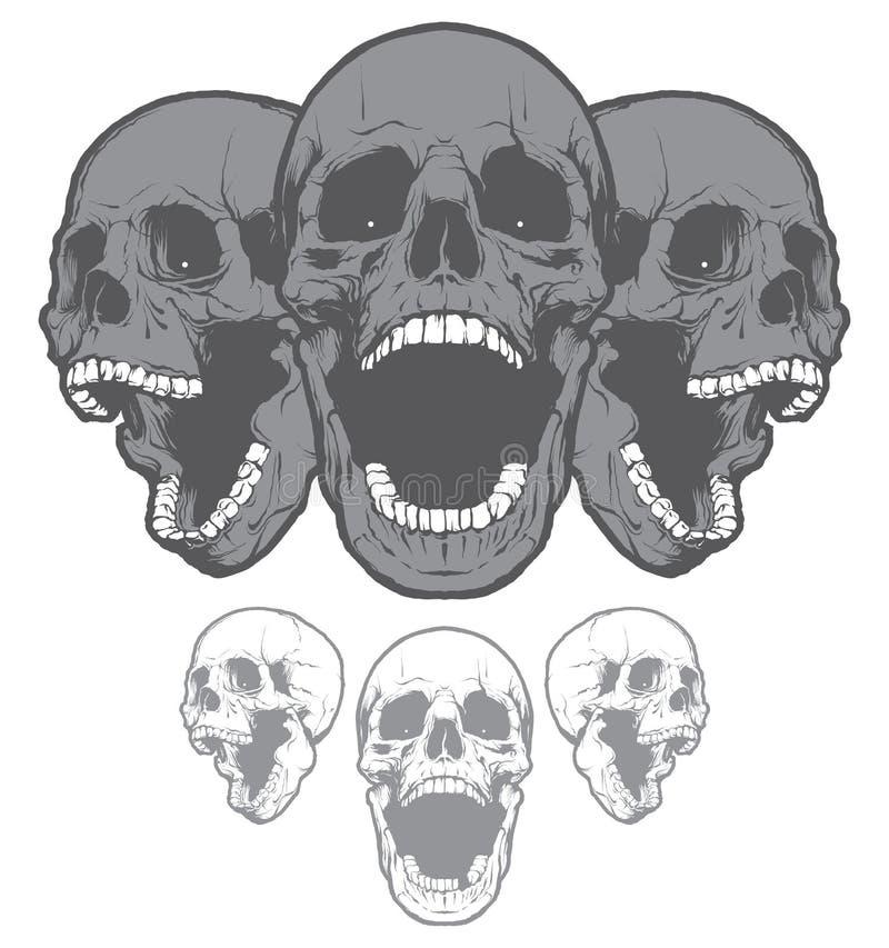 Skrikiga skallar som isoleras på vit bakgrund vektor för bild för designelementillustration stock illustrationer