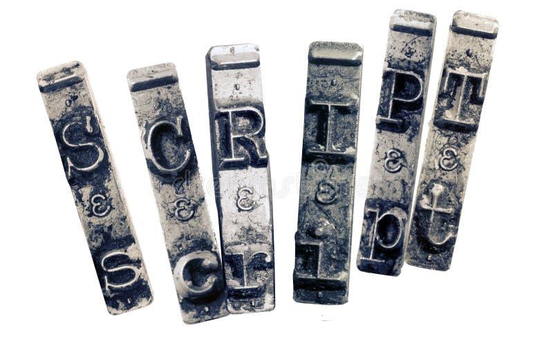 Skript слова со старыми ключами typwriter стоковое фото rf