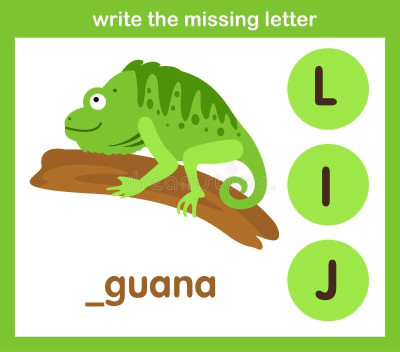 Skriv det saknade brevet vektor illustrationer