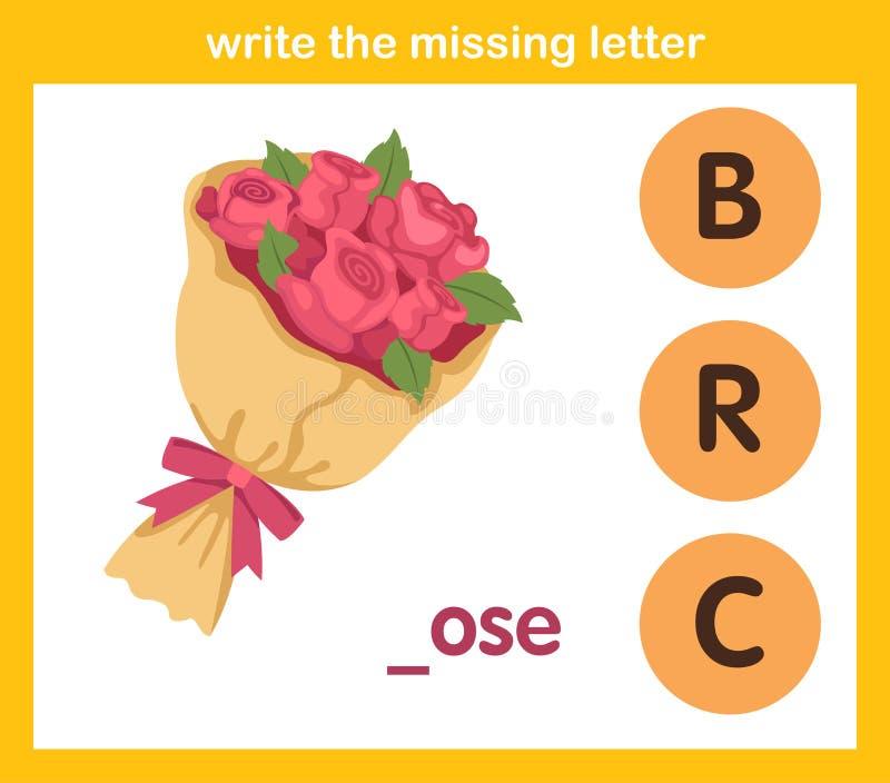 Skriv det saknade brevet stock illustrationer