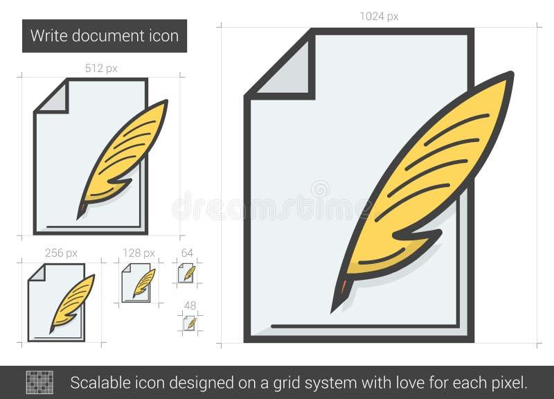 Skriv dokumentlinjen symbol royaltyfri illustrationer