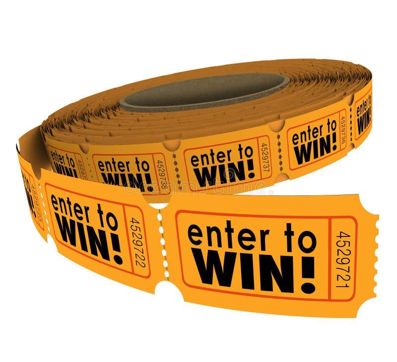 Skriv in för att segra lycka för lotteri för välgörenhet för Fundraiser för tombolabiljettrulle royaltyfri illustrationer