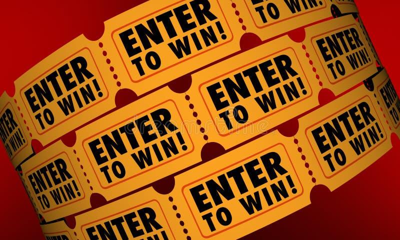 Skriv in för att segra möjlighet för lotteri för teckning för biljettstridtombola stock illustrationer