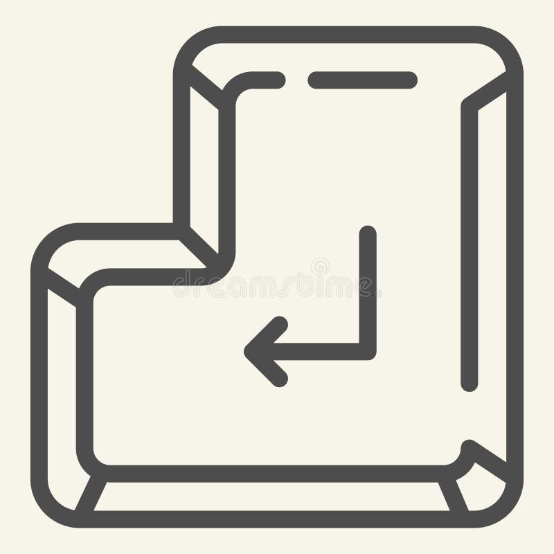 Skriv in knapplinjen symbol Skriv in den nyckel- vektorillustrationen som isoleras på vit Design för tangentbordöversiktsstil som stock illustrationer