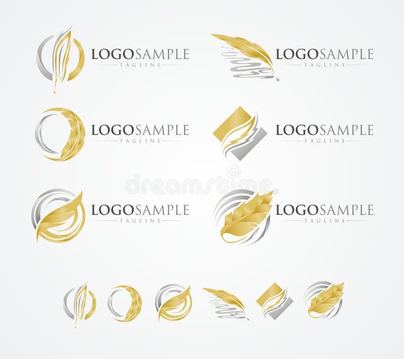 Skriv logoen för läderpennlutningen vektor illustrationer