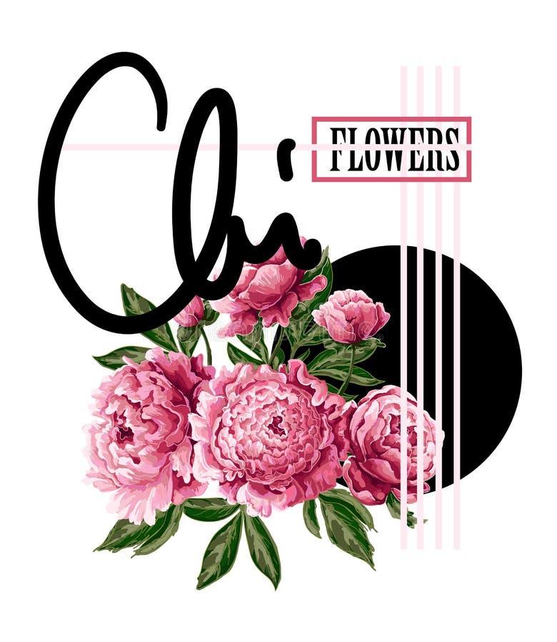 Skriv ut för t-skjorta eller affisch med rosa pioner och slogan Delikat modeillustration vektor illustrationer