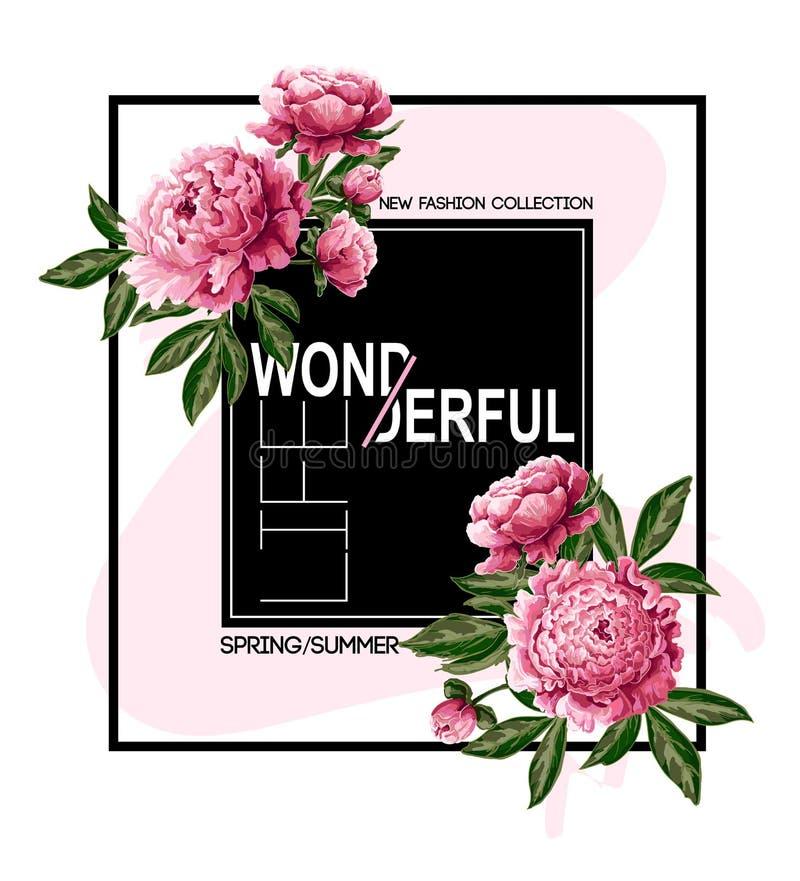 Skriv ut för t-skjorta eller affisch med rosa pioner och slogan Delikat modeillustration stock illustrationer