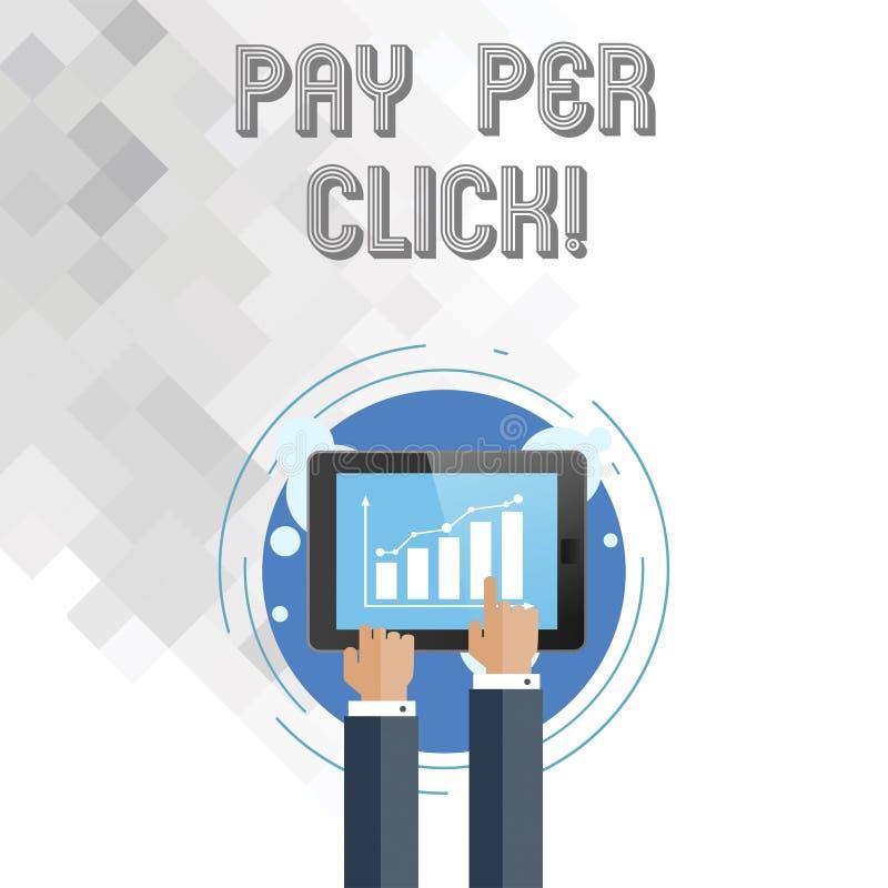 Skriva anmärkningen som är showingPay per klick Affärsfoto som ställer ut internet som annonserar strategi för modellSearch Engin stock illustrationer