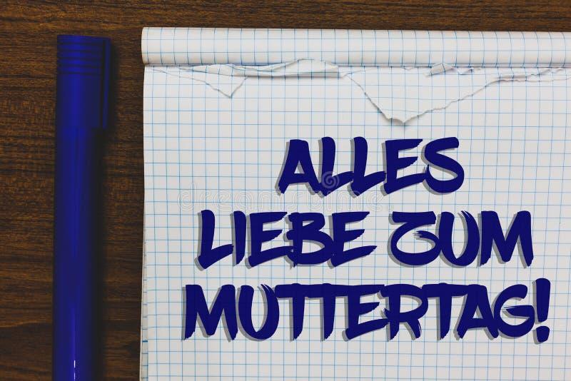 Skriva anmärkningen som visar Alles Liebe Zum Muttertag Affärsfoto som ställer ut skriftlig whi för lycklig för moderdag för förä arkivbild