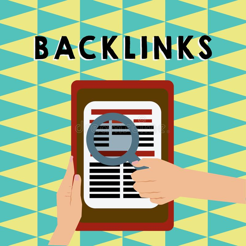 Skriva anmärkningen som visar Backlinks Affärsfoto som ställer ut inkommande hyperlink från en webbsida till en annan stor websit stock illustrationer