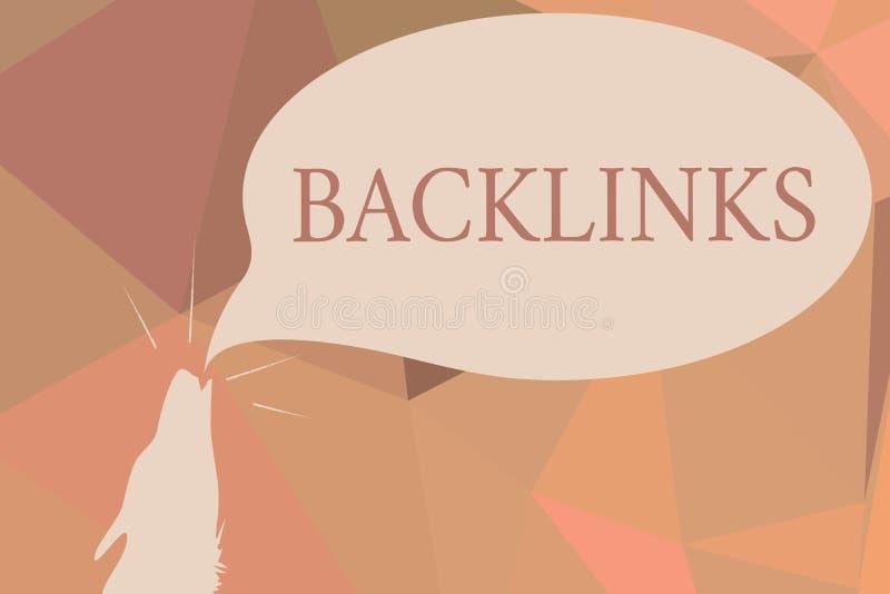 Skriva anmärkningen som visar Backlinks Affärsfoto som ställer ut inkommande hyperlink från en webbsida till en annan stor websit royaltyfri illustrationer
