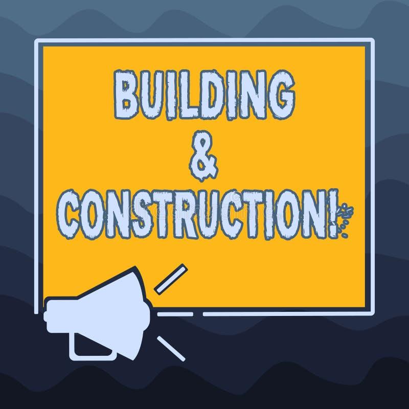 Skriva anmärkningen som visar byggnad och konstruktion Affärsfoto som ställer ut arbetet av byggnad eller gör något royaltyfri illustrationer