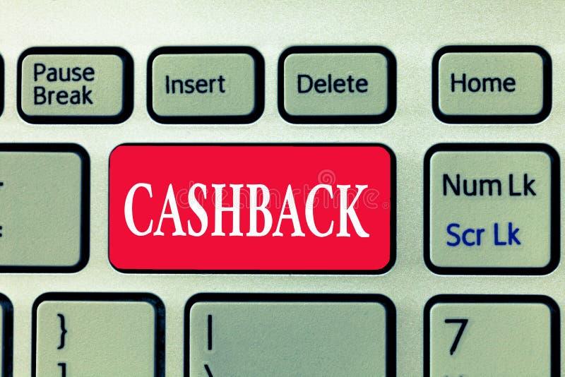 Skriva anmärkningen som visar Cashback Affärsfotoet som ställer ut incitament, erbjöd till köpare bestämda produkter, varigenom m royaltyfri bild