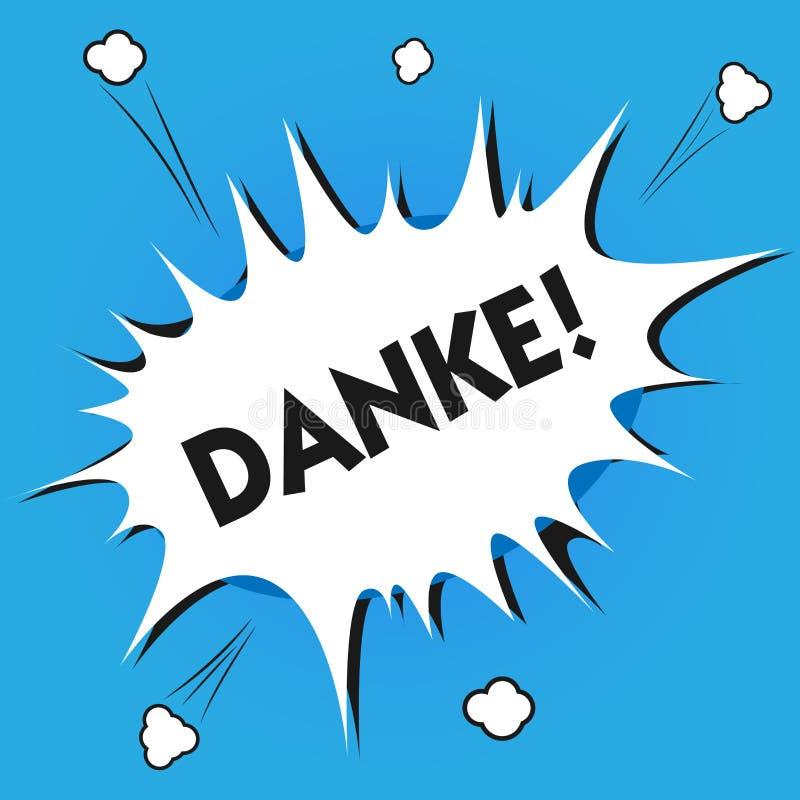 Skriva anmärkningen som visar Danke Att ställa ut för affärsfoto som används som informell väg av att säga, tackar dig i tyskt sp stock illustrationer