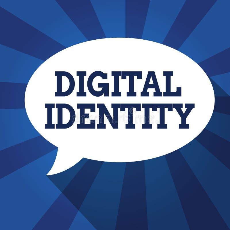 Skriva anmärkningen som visar den Digital identiteten Affärsfoto som ställer ut information på enheten som används av datoren för royaltyfri illustrationer