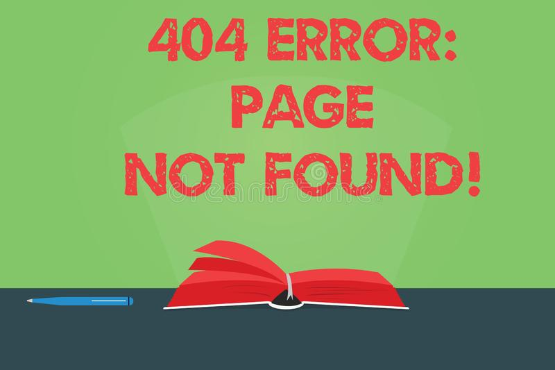 Skriva anmärkningen som visar den inte-fann sidan för 404 fel Affärsfotoet som ställer ut Webpage på serveren, har varit borttage vektor illustrationer