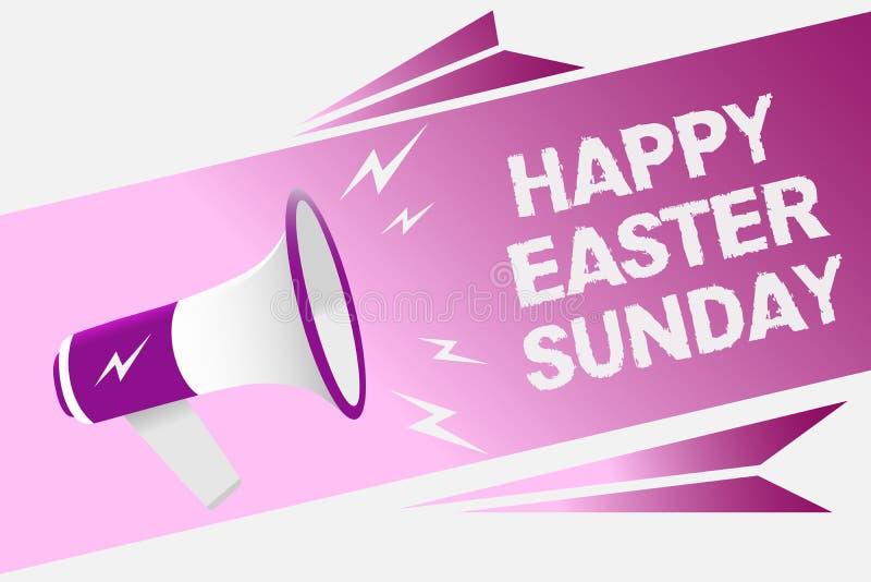 Skriva anmärkningen som visar den lyckliga påsken söndag Affärsfotoet som ställer ut hälsning någon om ferievåren, är den kommand vektor illustrationer
