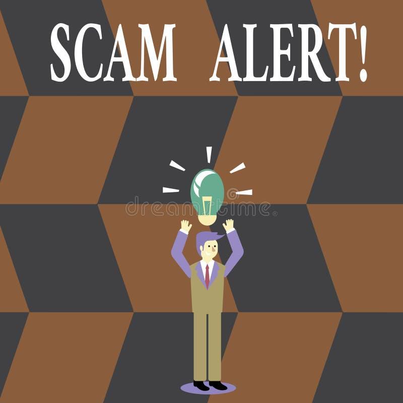 Skriva anmärkningen som visar den Scam varningen _affär foto ställa ut fraudulently erhålla pengar från offer vid övertala honom vektor illustrationer