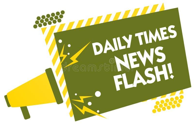 Skriva anmärkningen som visar den Daily Times nyheternaexponeringen Affärsfotoet som ställer ut snabbt svar till handlingar, händ stock illustrationer