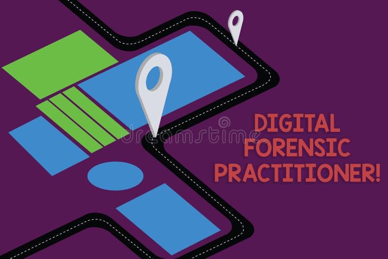 Skriva anmärkningen som visar Digital den rättsmedicinska praktiker Affärsfoto som ställer ut specialisten, i att utforska färdpl royaltyfri illustrationer