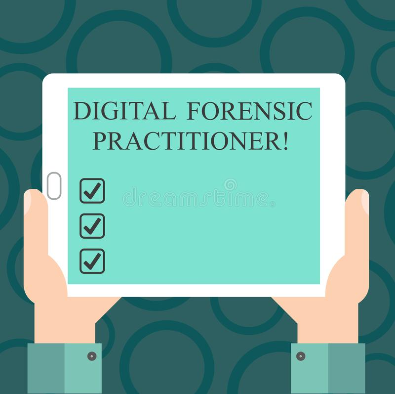Skriva anmärkningen som visar Digital den rättsmedicinska praktiker Affärsfoto som ställer ut specialisten, i att utforska datorb stock illustrationer