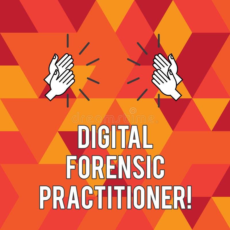 Skriva anmärkningen som visar Digital den rättsmedicinska praktiker Affärsfoto som ställer ut specialisten, i att utforska datorb vektor illustrationer