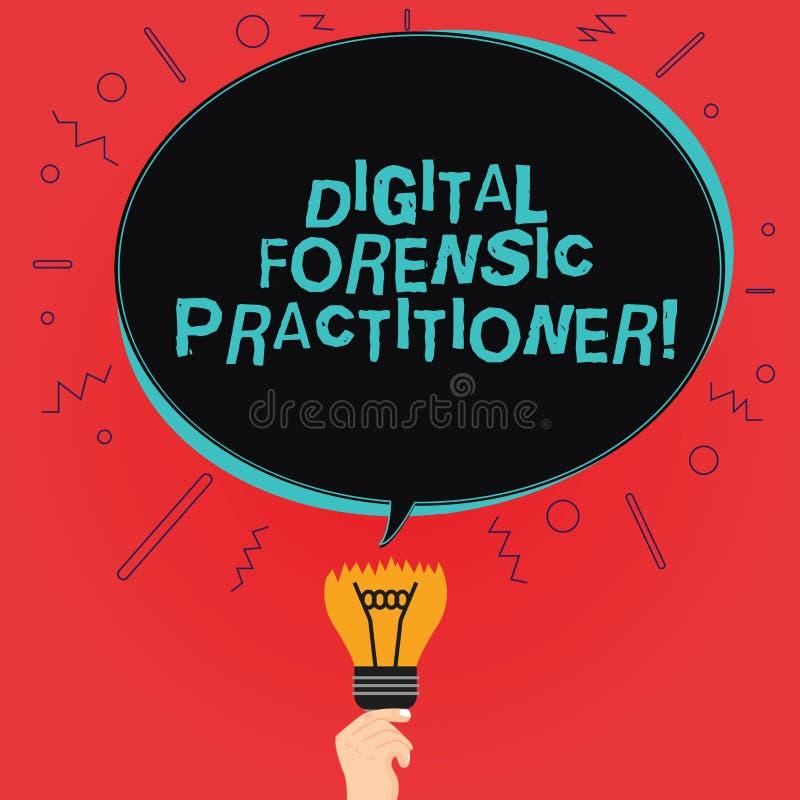 Skriva anmärkningen som visar Digital den rättsmedicinska praktiker Affärsfoto som ställer ut specialisten, i att utforska det ov stock illustrationer