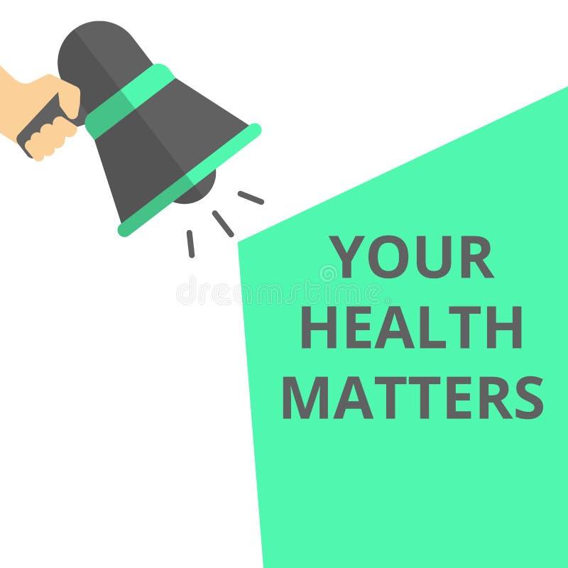 Skriva anmärkningen som visar dina hälsofrågor stock illustrationer