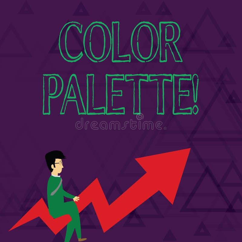 Skriva anmärkningen som visar färgpaletten Affärsfoto som ställer ut fullt område av färger som kan visas på en apparat stock illustrationer