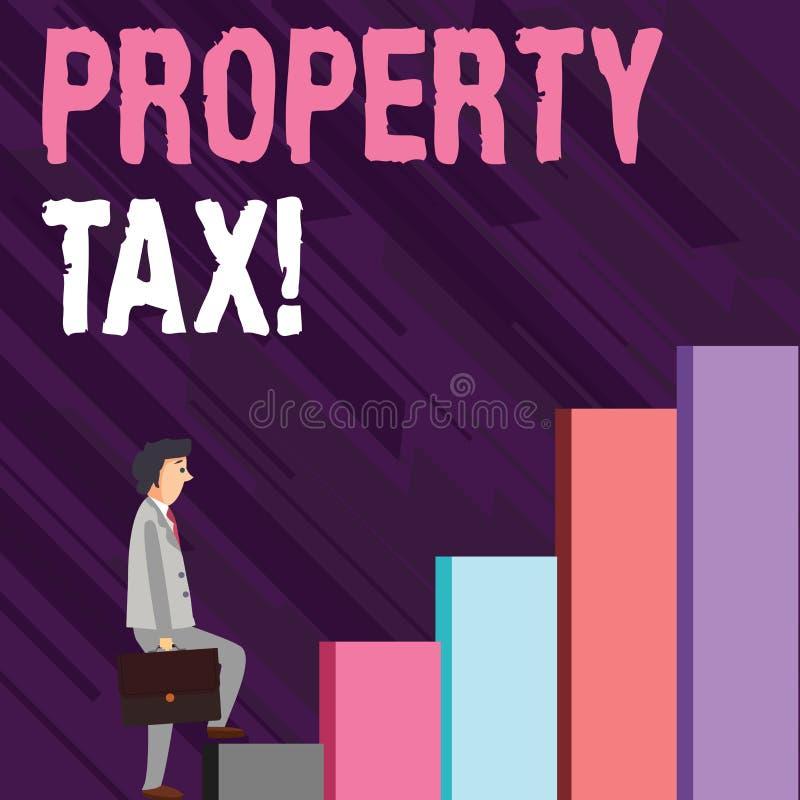Skriva anmärkningen som visar fastighetsskatt Affärsfoto som ställer ut räkningar som uttaxeras direkt på din egenskap av regerin royaltyfri illustrationer