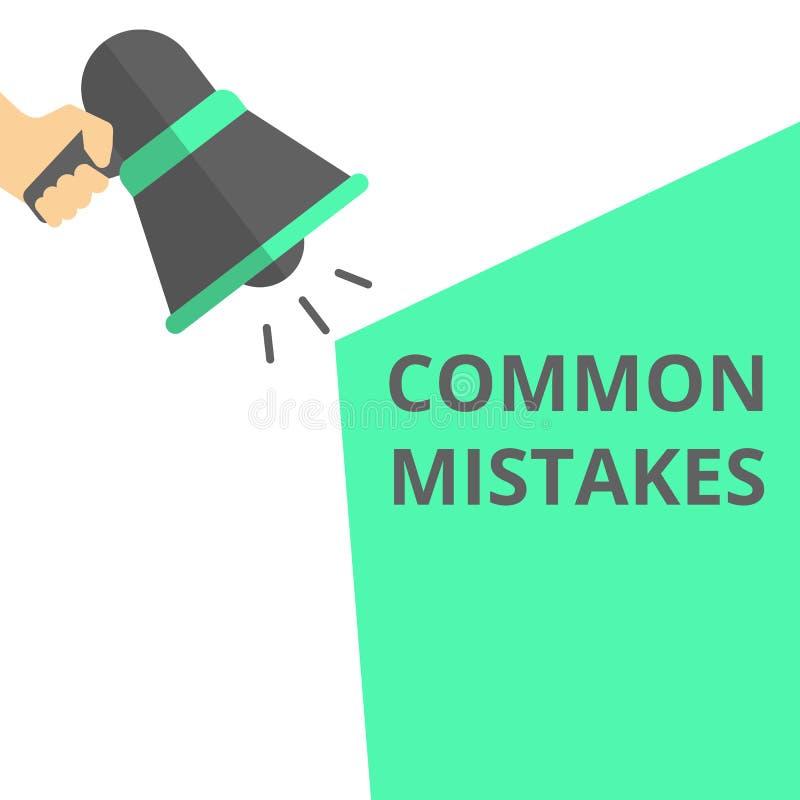 Skriva anmärkningen som visar gemensamma fel Motivational appell stock illustrationer